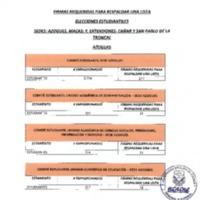 Firmas requeridas para respaldar una lista - Elecciones Estudiantiles