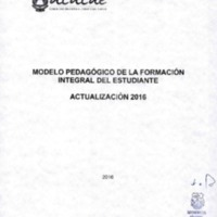 Actualización 2016 Modelo Pedagógico de la Formación Integral del Estudiante