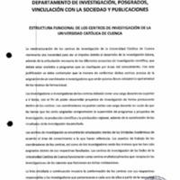 Estructura funcional de lo centros de investigación de la Universidad Católica de Cuenca