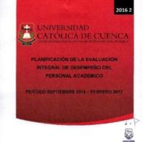 Planificación de Evaluación Integral de Desempeño del Personal Académico