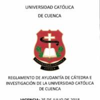 Reglamento de Ayudantía de Cátedra e Investigación de la Universidad Católica de Cuenca