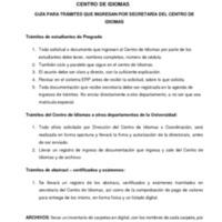 GUÍA DE TRAMITES DE SECRETARIA CENTRO DE IDIOMAS