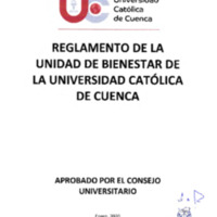Reglamento de la Unidad de Bienestar de la Universidad Católica de Cuenca.