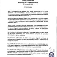 Resolución Nro. C.U. 605-2019-UCACUE