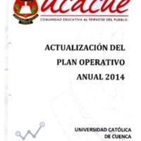 Actualización del Plan Operativo anual 2014 - POA