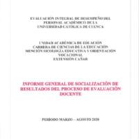 Informe Evaluación - Ciencias de la Educación Mención Sicología Educativa y Orientación Vocacional