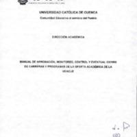 Manual de Aprobación, Monitoreo, Control y eventual cierre de carreras y programas de la oferta Académica de la UCACUE