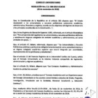 Resolución Nro. C.U. 586-2018-UCACUE