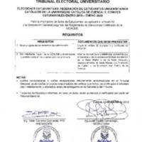 Elecciones Estudiantiles: Federación de Estudiantes Universitarios Católicos de la Universidad Católica de Cuenca; y, comités Estudiantiles enero 2019 - enero 2020