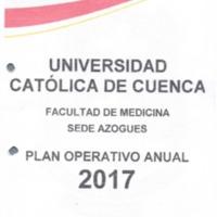Plan Operativo Anual de la carrera de Medicina - Azogues - Periodo 2017