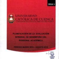 Planificación de Evaluación Integral de Desempeño del Personal Académico.
