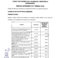 Cobro por matrículas%2c aranceles y derechos a estudiantes periodo Sept. 17 - Feb. 18.PDF