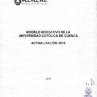 Actualización 2016 Modelo Educativo de la Universidad Católica de Cuenca