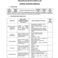 Descripción Microcurricular - Carrera de Ingeniería Ambiental