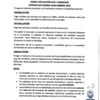 Tabla de cobro por Matriculas y Aranceles periodo septiembre 2018 - febrero 2019