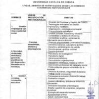 Líneas, Ámbitos de Investigación desde los Dominios Académicos Institucionales.