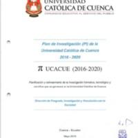Plan de Investigación (PI) de la Universidad Católica de Cuenca 2016-2020