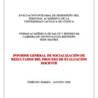 F-DO-54 Informe de socialización de evaluación docente  ODONTOLOGIA REDISEÑO  2020-2020.pdf