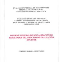 Informe Evaluación - Ciencias de la Educación Mención Educación Inicial y Parvularia