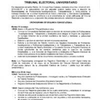 Cronograma de Segunda Convocatoria  para la Elección de Representantes de Profesores/as-Investigadores/as, Trabajadores/as y Graduados/as al Consejo Directivo de la Unidad Académica