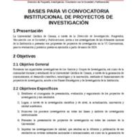 Bases para la VI convocatoria Institucional de Proyectos de Investigación