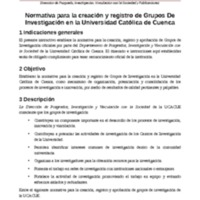 Normativa para la creación y registro de Grupos de Investigación en la Universidad Católica de Cuenca
