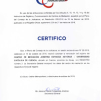 Certificado de Renovación del Consejo de la Judicaturía