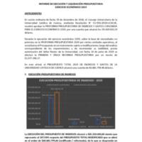 INFORME DE EJECUCIÓN Y LIQUIDACIÓN PRESUPUESTARIA<br /><br /> EJERCICIO ECONÓMICO 2019
