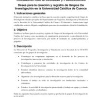 Bases para la creación y registro de Grupos De<br /><br /> Investigación