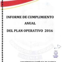 Informe de cumplimiento anual del Plan Operativo 2016