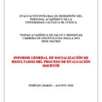 F-DO-5_1 INFORME DE SOCIALIZACIÓN EVALUACIÓN DOCENTE ODNTOLOGIA MALLA 2013 MATRIZ .pdf