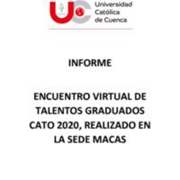 ENCUENTRO VIRTUAL DE TALENTOS GRADUADOS CATO MACAS 2020